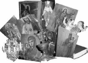 Склад церковних реліквій у приміщенні колишнього офіцерського клубу в Чорткові Не годен розмістити тут ноги: Святі Марії. Ангели, Боги окупували не свої терени, немов їм люди – перші вороги