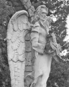Скульптурна фігура, що претендує на вираження духовної ідеї, при вході на подвір'я Чортківського педагогічного коледжу ім. Барвінського.