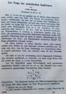 Перша сторінка статті у журналі Zeitschrift für Physikalische Chemie (Leipzig, 1911, Bd. 75), у якій теоретично розглядаються періодичні хемічні реакції.