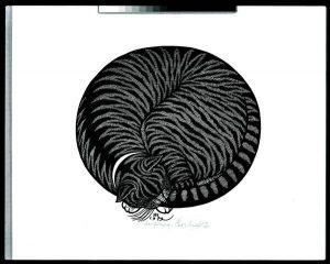 Яків Гніздовський. Котяча дрімка. Дереворит – гравюра на дошці, 1979 рік