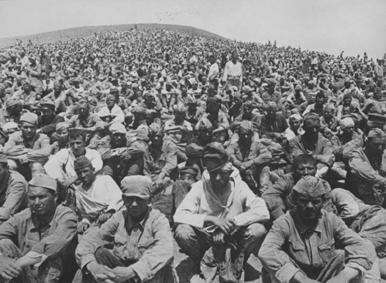 Третя Кримська катастрофа Червоної армії. Полонені червоноармійці на збірному пункті під Севастополем.
