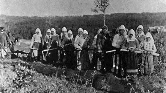 Жінки працюють за плугом. Поселення поблизу Маннітоби, 1901. Фото http://www.virtualmuseum.ca/