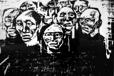 «В'язні Гулагу» (2005. Ліногравюра . 34х49).